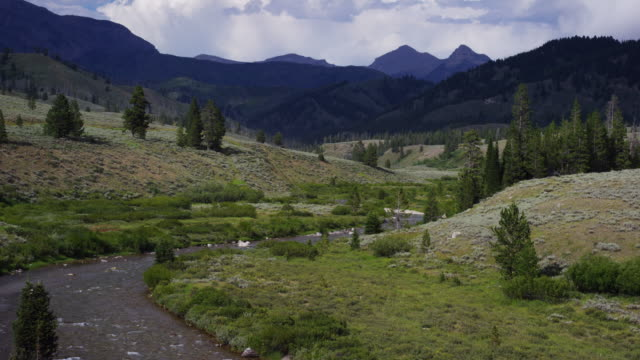 a stream flows in the mountains of wyoming with rainclouds on the horizon - grand teton stock videos & royalty-free footage