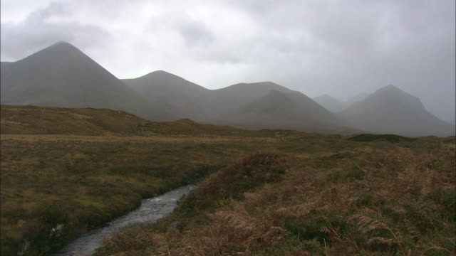 A stream flows through moorland on the Isle of Skye.