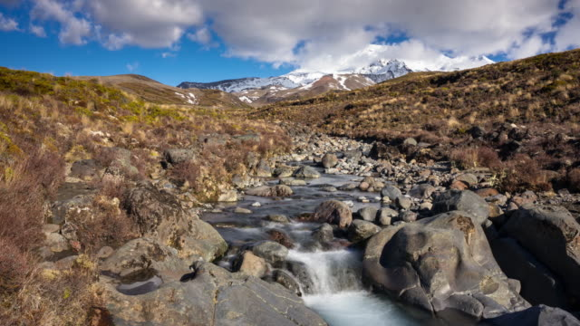 stream from mount ruapehu - time lapse - tongariro national park stock videos & royalty-free footage
