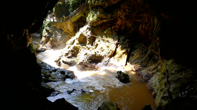 stream of water running through the cave, jioxiang cave, china - narrow stock videos & royalty-free footage