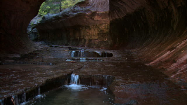 ms, stream running through rocky canyon, zion national park, utah, usa - waterfall stock videos & royalty-free footage