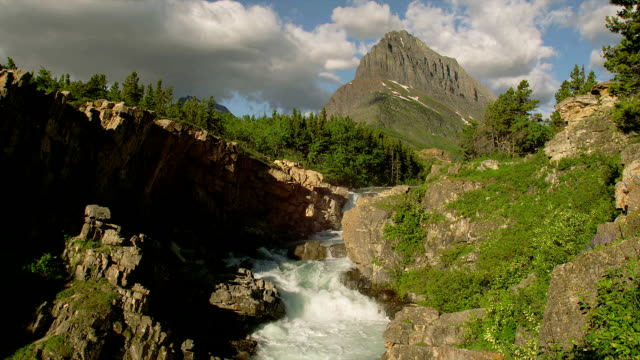 A stream rushes down from Grinnell Glacier.