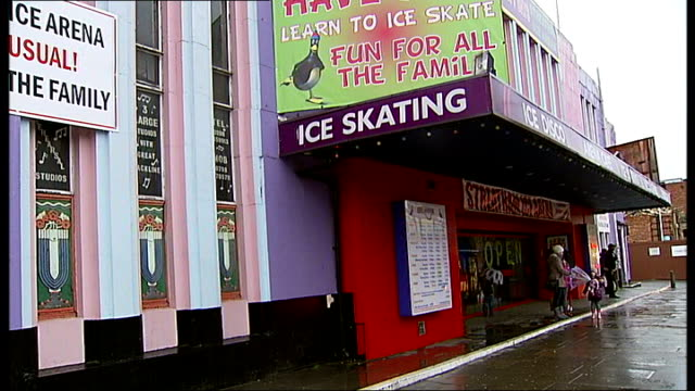 streatham ice rink to close; general view ice rink reporter to camera ext entrance to ice rink close shot 'ice skating' sign int building site seen... - sporting footwear stock videos & royalty-free footage
