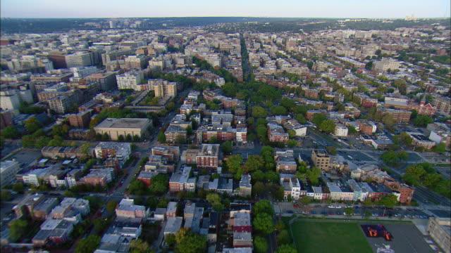 aerial 'p' street and logan circle, washington d.c., usa - logan circle stock videos and b-roll footage