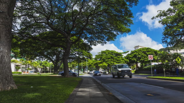 T/L street and sidewalk - cars passing by on Oahu / Hawaii