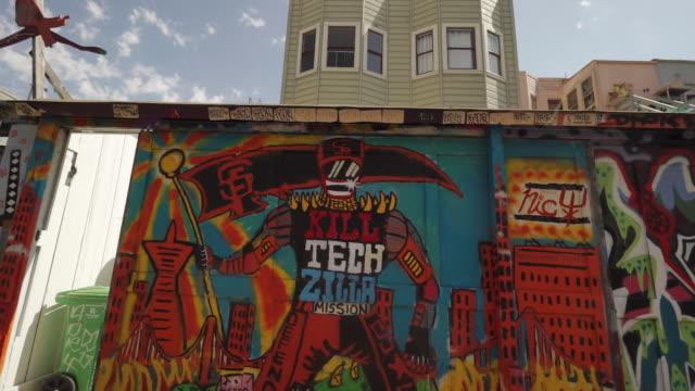 Street art (graffiti) in Clarion Alley, San Francisco, USA