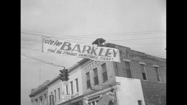 street banner outside city hall in paducah vote for barkley and the straight democratic party / he and wife jane walk to polling place - alben w. barkley stock videos and b-roll footage