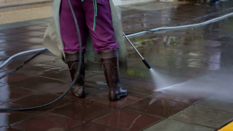 street care and cleaning services with water machine - slippery stock videos & royalty-free footage
