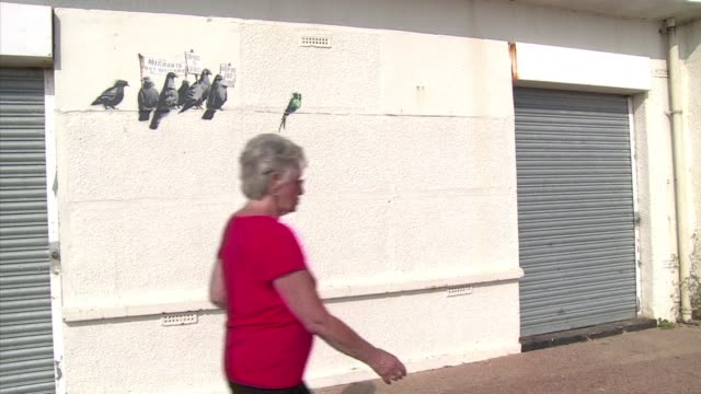 street cleaners in britain may have painted over artwork worth a fortune a mural by banksy showing pigeons picking on an african migrant bird in a... - satire stock videos & royalty-free footage