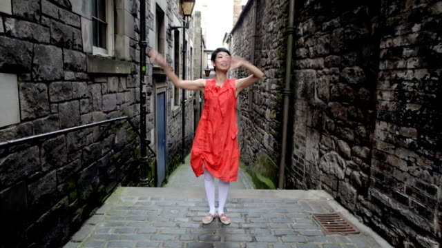 street dancer in alley - edinburgh stock videos and b-roll footage