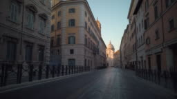 Street Ending With Sant'Andrea della Valle Basilica in Rome, Italy