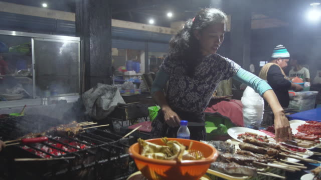 street food barbecue at philippines - cultures stock videos & royalty-free footage