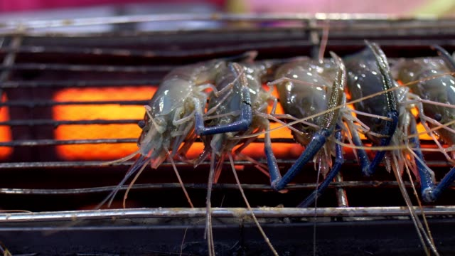 street food : grilling prawns - group of animals stock videos & royalty-free footage