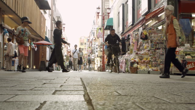 Street Friends Shopping Sidewalk Market Timelapse Japan.