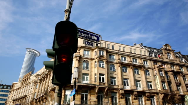 street in frankfurt , panning - road signal stock videos & royalty-free footage