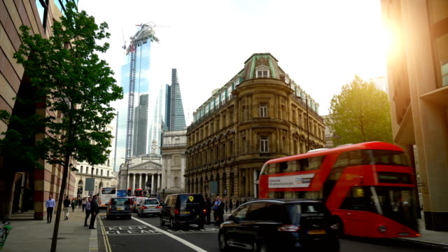 street in london with old and new buildings - city of london stock videos & royalty-free footage