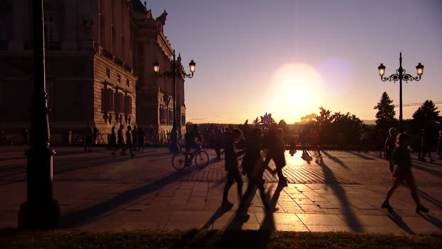 a street in madrid at sunset - architecture stock videos & royalty-free footage