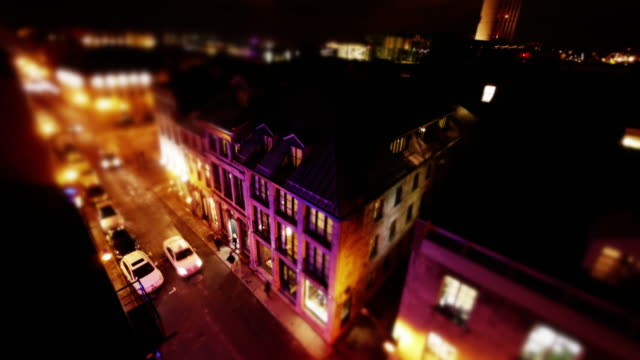 street in old montreal seen from above in miniature tilt-shift style - vieux montréal stock-videos und b-roll-filmmaterial