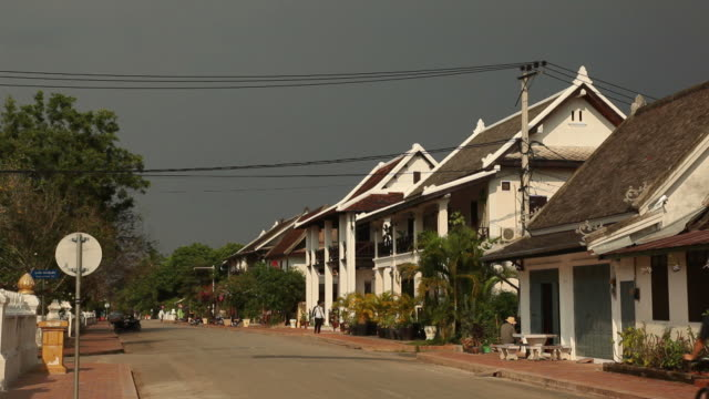ws street in town / luang prabang, laos - laos stock videos and b-roll footage