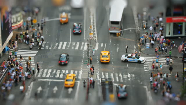 ws, ha, selective focus, street intersection at times square, new york city, new york, usa - tilt shift stock videos and b-roll footage