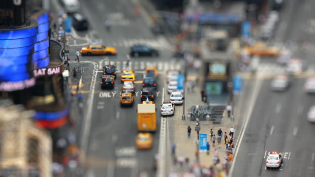 t/l, ws, ha, selective focus, street intersection at times square, new york city, new york, usa - tilt shift stock videos and b-roll footage