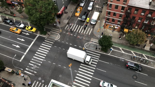 street intersection in new york, from above - manhattan stock videos & royalty-free footage