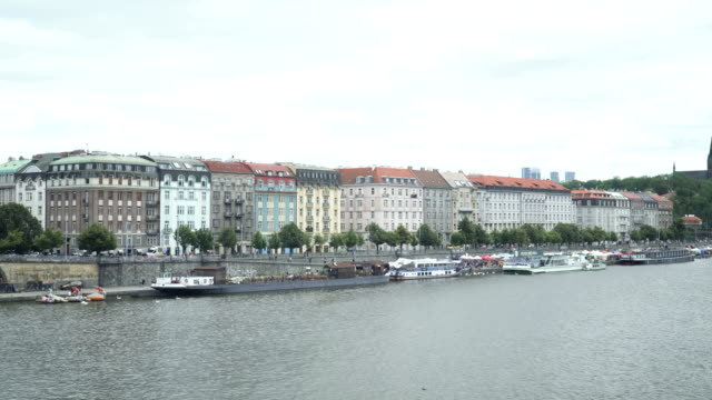 street is behind pattern colorful building along vitava river near vyšehrad, prague - traditionally czech stock videos & royalty-free footage