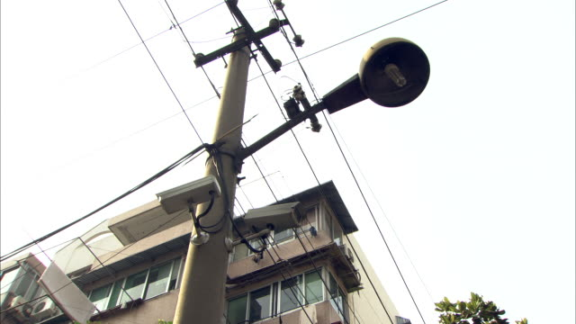 ms la street lamp and power lines, shanghai, china - compact fluorescent light bulb stock videos & royalty-free footage