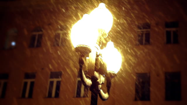 strada lampada di notte con la neve che cade - electric lamp video stock e b–roll