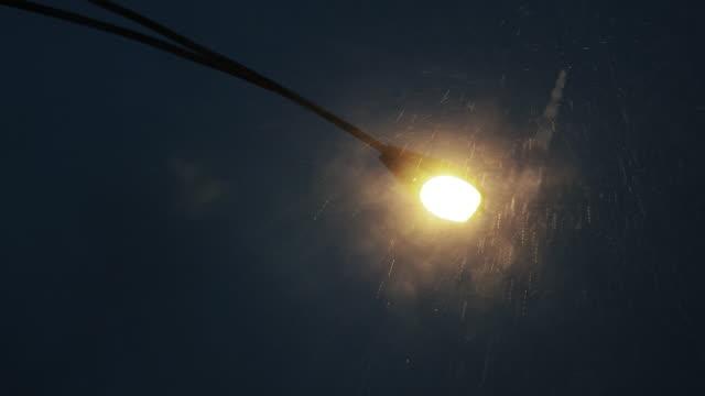 vídeos de stock, filmes e b-roll de ms la street lamp in rain - poste