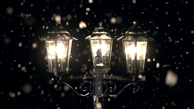 street lamp post in the snow at christmas - 19th century style stock videos and b-roll footage