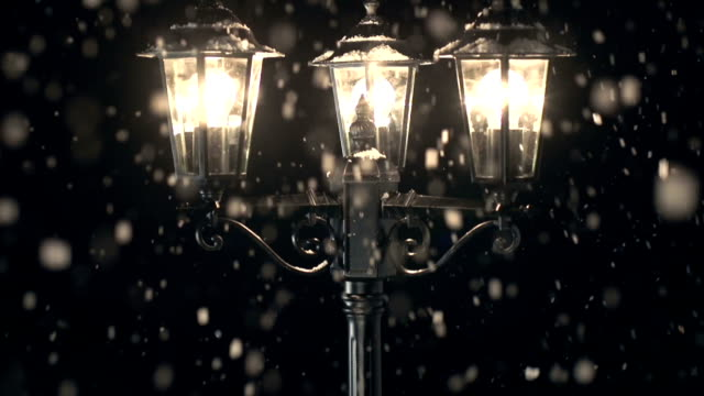 hd crane: street lamp post in the snow - victorian stock videos & royalty-free footage