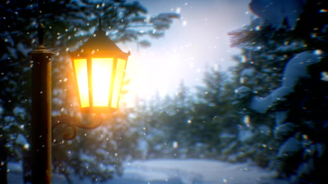 street lantern and snow (loopable) - street light stock videos & royalty-free footage