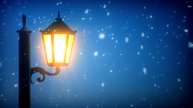 Straße Laterne und Schnee (Endlos wiederholbar