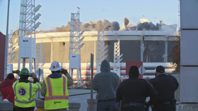 "street level timelapse of implosion of georgia dome stadium ""georgia world congress center"" on november 20, 2017, in downtown atlanta, georgia. - imploding stock videos and b-roll footage"