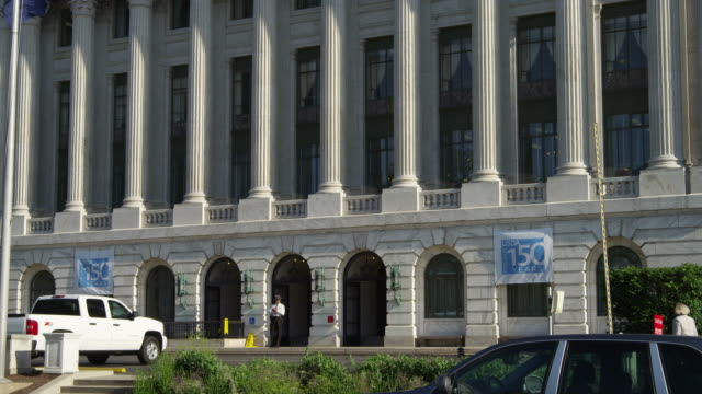 street level view of the us department of agriculture building in washington dc. shot in may 2012. - artbeats video stock e b–roll