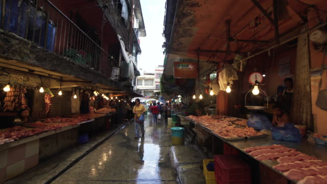 street market at philippines by steadicam - butcher stock videos & royalty-free footage