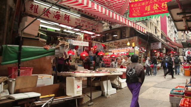 ws street market / hong kong, china - market stall stock videos & royalty-free footage