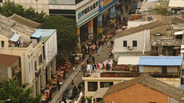 street market in guangzhou, china from above. - spoonfilm stock-videos und b-roll-filmmaterial
