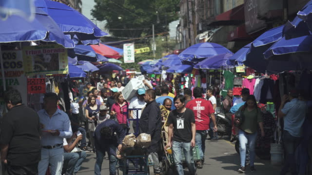 street market scene in mexico city - poverty stock videos & royalty-free footage