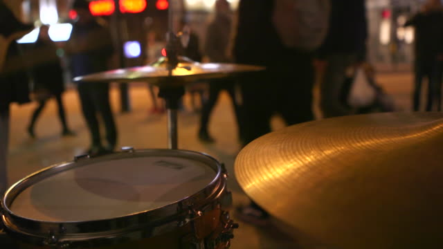 street music baskers at night - cymbal stock videos and b-roll footage