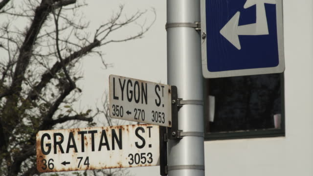 CU Street name signs Lygon St. and Grattan St., Melbourne, Victoria, Australia