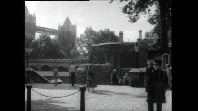 street outside the tower of london with tower bridge; 1955 - 1955 stock videos & royalty-free footage
