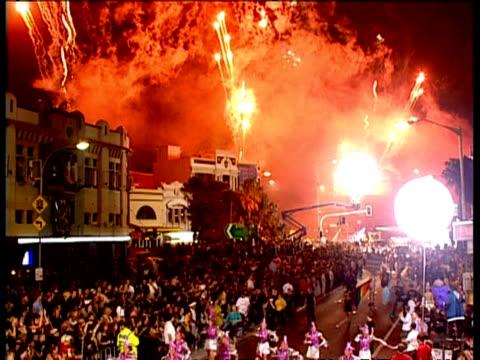 wa street parade at sydney gay & lesbian mardi gras, fireworks overhead - mardi gras stock videos and b-roll footage