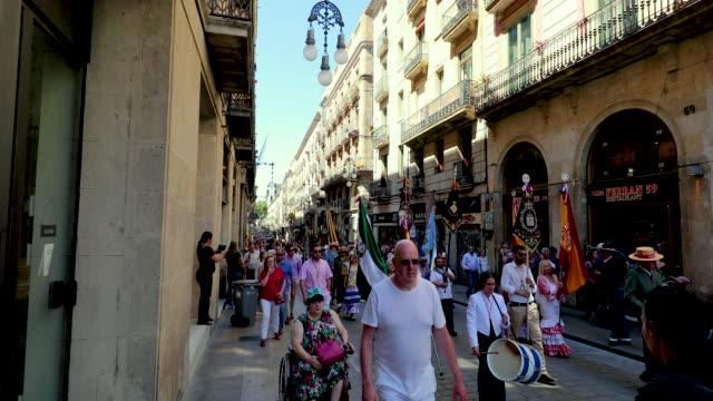 street parade, barcelona, spain - 25セント硬貨点の映像素材/bロール
