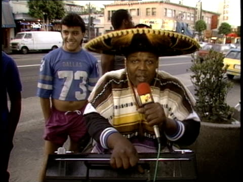 LA Street Performer Rapping about MTV in a Sombrero Called Himself Dr Geek