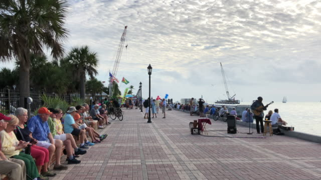 street performers and vendors in mallory square, key west - zauberer darstellender künstler stock-videos und b-roll-filmmaterial