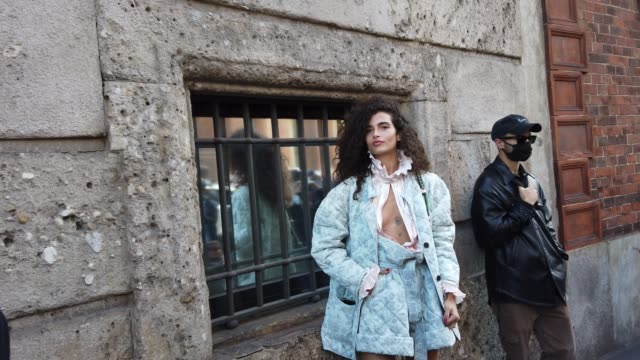 street photographers are photographing chiara scelsi after the philosophy fashion show during the milan women's fashion week on september 26, 2020 in... - milan fashion week stock videos & royalty-free footage