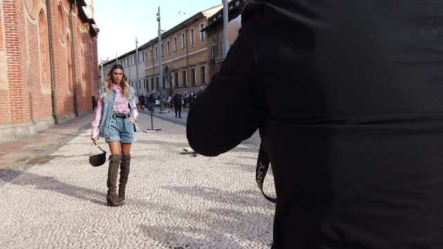 street photographers are photographing melissa satta after the philosophy fashion show during the milan women's fashion week on september 26, 2020 in... - philosophy stock videos & royalty-free footage