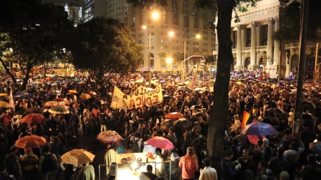 Street protest in Rio de Janeiro Brazil against corruption surrounding Olympics and World Cup
